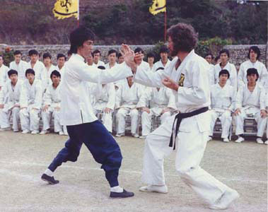 Bruce Lee & Bob Wall in Enter the Dragon Doing Pak Dar